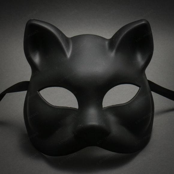 Unpainted Black Plain Art and Crafts Cat Face Mask